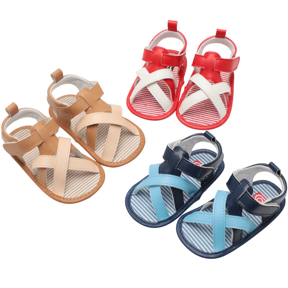 2019 Baby Summer Shoes Newborn Infant Baby Girls Boys Shoes Solid Non-slip Color Block PU Leather Breathable Toddler Shoes 0-18M