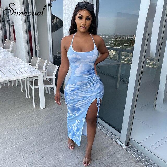 Simenual Tie Dye Drawstring Side Slit Women Maxi Dresses Strap Sleeveless Party Club Fashion Slim Backelss Bodycon Halter Dress 1