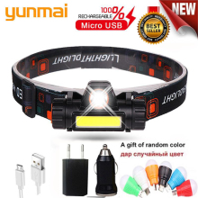 Powerful Headlight XPE+COB USB Rechargeable Headlamp Built-in 18650 Battery Head Light Waterproof Head Torch Camping Head Lamp