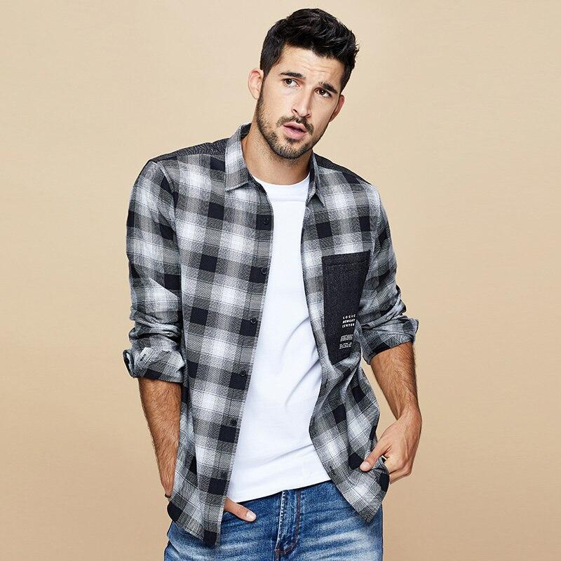 Image 2 - KUEGOU 2019 осень 100% хлопок клетчатая красная рубашка мужская  одежда на пуговицах Повседневная приталенная с длинным рукавом для  мужчин брендовая блуза размера плюс 6987Повседневные рубашки   -