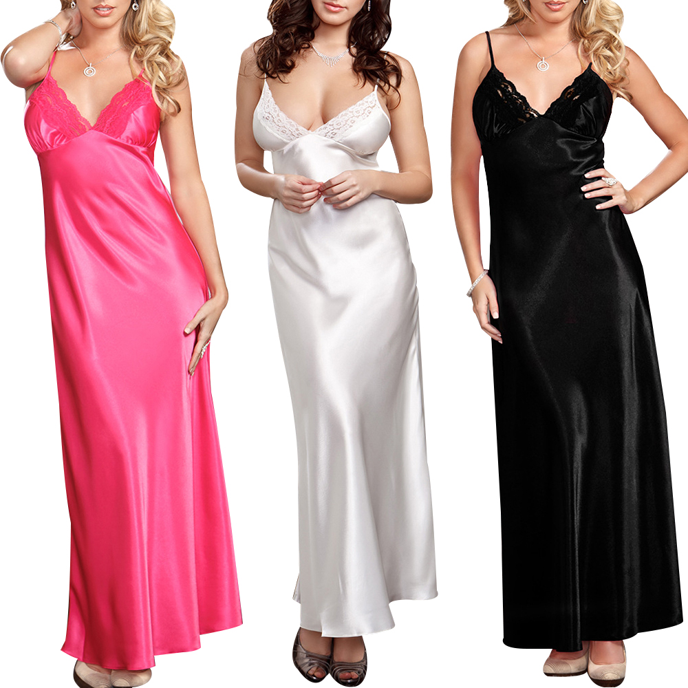 Elegant Nightdress Women Sexy Satin Long Lingerie Sleepwear Deep V Lace Nightgown Solid Colour Sleeveless Night Dress Femme D30