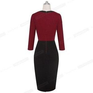 Image 2 - Güzel sonsuza kadar zarif dantel Patchwork ofis vestidos İş Bodycon kadın elbise B569