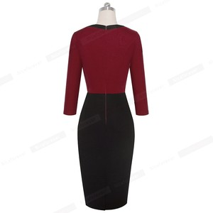 Image 2 - Nice forever Elegant Lace Patchwork Office vestidos Business Work Bodycon Women Dress B569