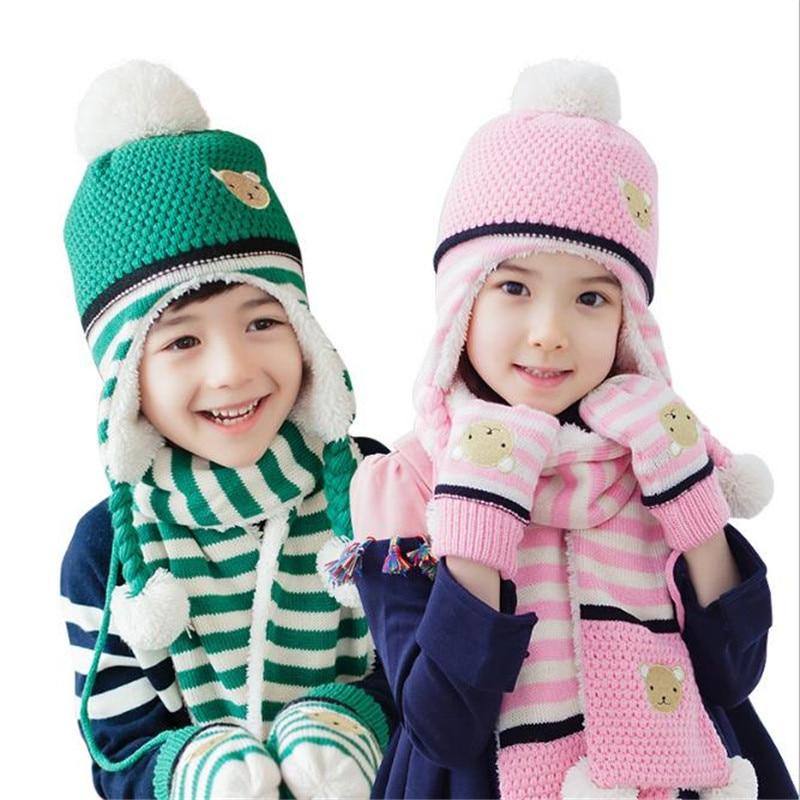 Baby Boys Girls Kids Winter Warm Hats Scarf Gloves 3pcs set Beanie Caps Mittens