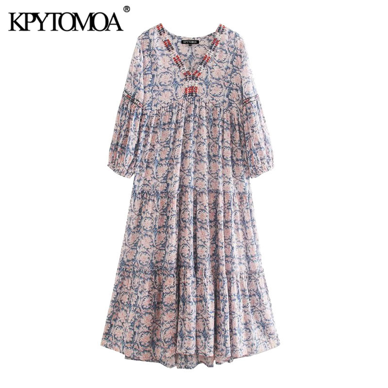 KPYTOMOA Women 2020 Chic Fashion With Embroidery Print Pleated Midi Dress Vintage V Neck Lantern Sleeve Female Dresses Vestidos