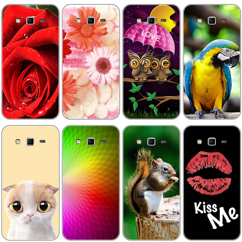 Soft TPU Phone <font><b>Cases</b></font> For <font><b>Samsung</b></font> Galaxy <font><b>Grand</b></font> <font><b>2</b></font> <font><b>G7102</b></font> G7105 G7106 G7108 G7109 G7100 G71S SM-<font><b>G7102</b></font> Covers Cat Owl Flower Bags image