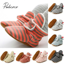 Г. Зимние теплые ботинки для малышей, для новорожденных, для маленьких девочек, мягкая подошва, обувь для кроватки Нескользящие тапочки для малышей полосатая пушистая обувь