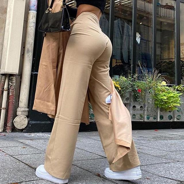 Streetwear Khaki Wide Leg Women Pants Casual Loose High Waist Flared Pants Ladies Long Trousers Pantalon Cargo Femme 3