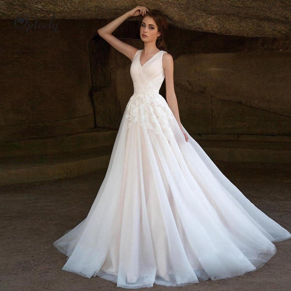 Optcely Vestido De Noiva Hot Sale Sleeveless V-Neck Backless A-Line Tulle Wedding Dresses 2019 Appliques Beading Princess Dream