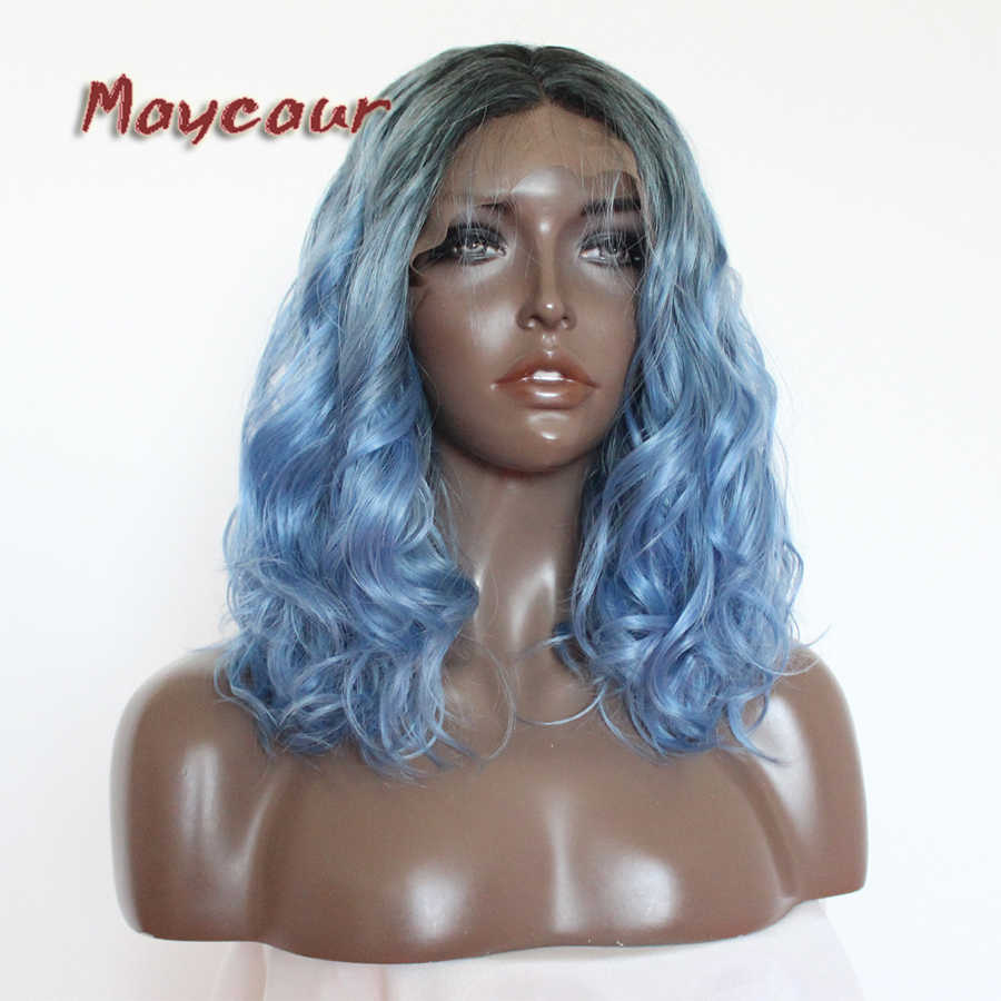 Maycaur Hair Ombre #1B To Blue Synthetic Lace Front Wigs Short Bob Deep Curly Wigs Heat Resistant With Natural Hairline