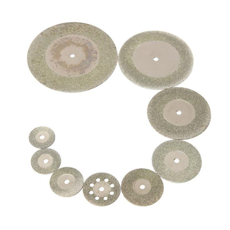 10pcs/set Mini Diamond Saw Blade Silver Cutting Discs With 2X Connecting Shank For Dremel Drill Fit Rotary Tool