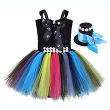 Girls Alice in Wonderland Halloween Mad Hatter Costume for Kids Twinkle Beading Bow Christmas Clothes Party Tutu Dress with Hat
