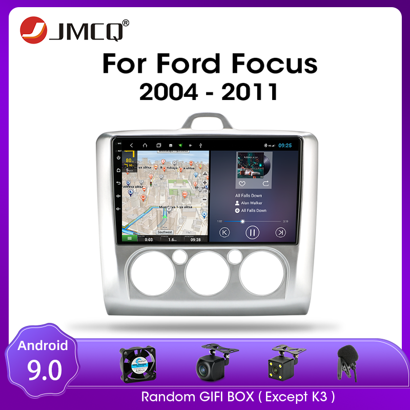 JMCQ Android 9.0 Car Radio for Ford Focus Exi MT AT 2004-2011 Multimedia Video Player 2 Din 4+64G RDS GPS Navigaion Split Screen