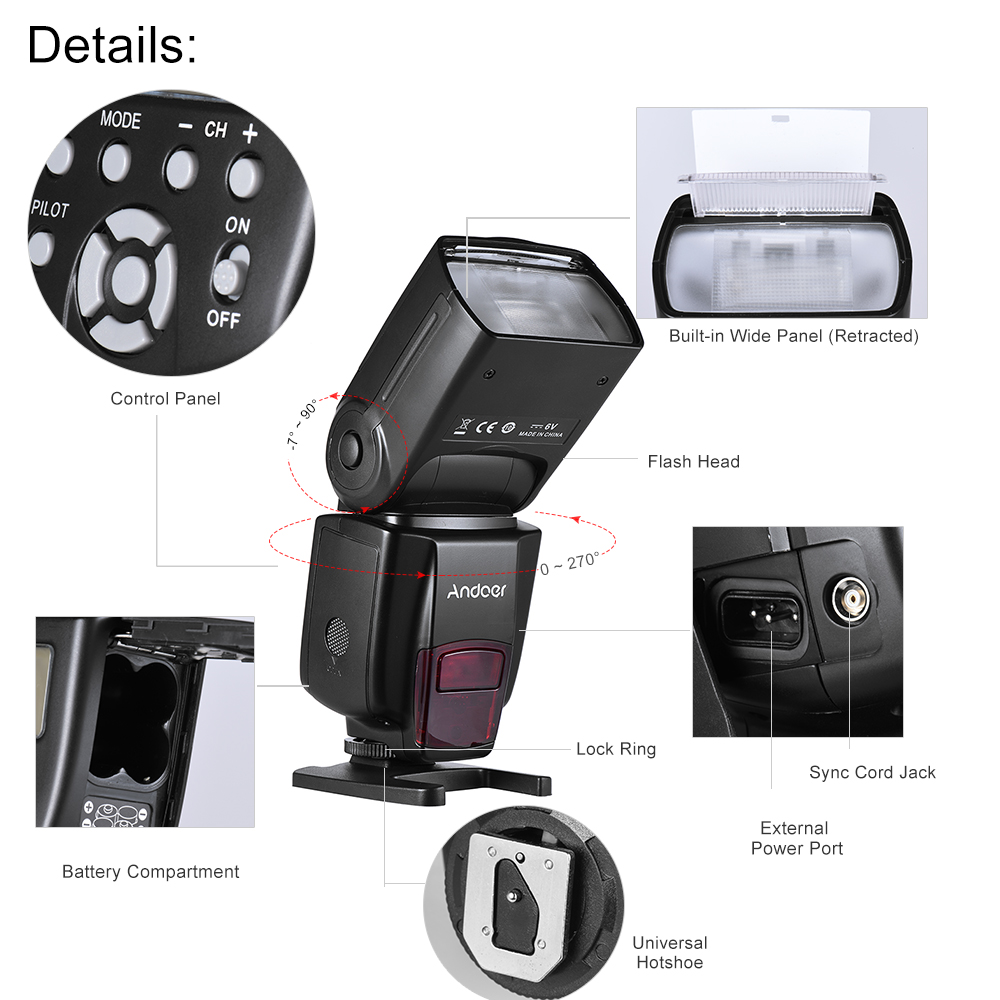 Andoer AD560 IV Pro On-camera Speedlite Flash Light Flash Trigger Color Filters Diffuser Hot Shoe for Canon Nikon Sony Camera