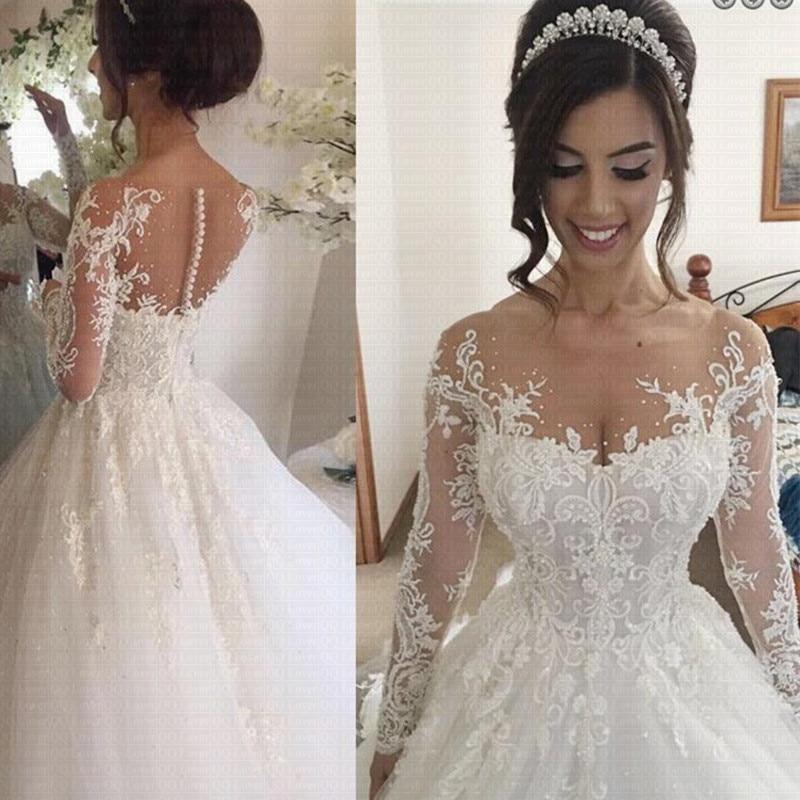 Cheap Vestido De Novia Arabic Long Sleeve Wedding Dress 2019 Sheer Train Lace Robe De Mariage Wedding Gowns Bride Dress