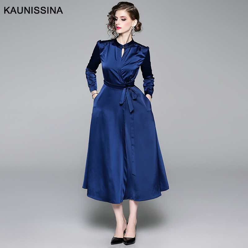 KAUNISSINA Autumn Cocktail Dress Elegant Long Sleeve Party Gowns Blue Long Shirt Dress Ladies Vintage Homecoming Robes