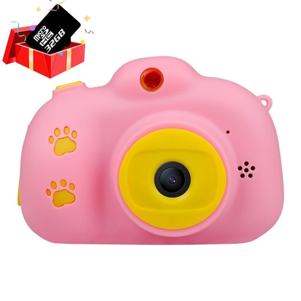 Детская камера, игрушки для детей, цифровая камера 18 МП HD с картой 32G, экран 2,4 дюйма, двойная Селфи, видео игра, видеокамера, игрушки для детей - Цвет: Pink with 32G Card