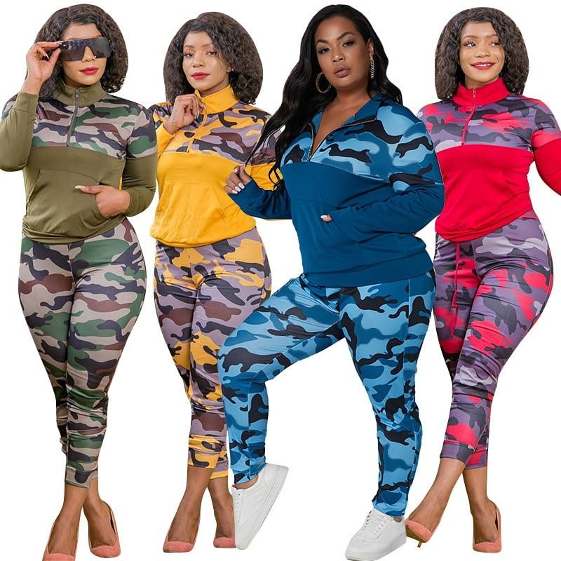 Mais tamanho S-5XL 2 peças roupas para mulheres camuflagem impresso estiramento casual joggor aptidão conjunto de correspondência atacado dropshipping
