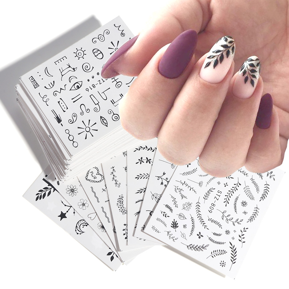 Black Leaves Stickers Set For Nails Flamingo Leaf Nail Water Decal Sexy Leopard Eye Transfer Slider Manicure Foil BESTZ808-855-1