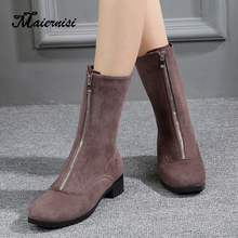 Warm plush insole ankle boots new zipper front winter ladies elegant square high heels round head
