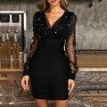 Женские вечерние платья с блестками, без рукавов, с v-образным вырезом, черные, элегантные, вечерние, в стиле ретро