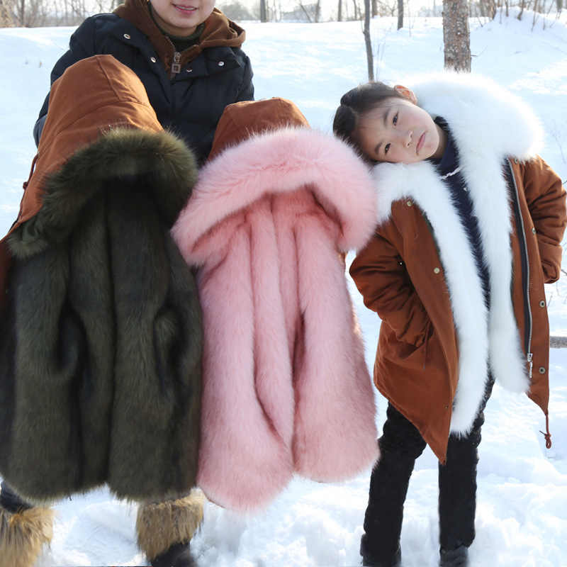 2019 Children's Parka Hooded Fur Kids Boys Coats Thick Warm Winter Jacket Girls Clothes Outdoor Teenage Girl Snowsuit Outwear