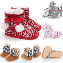 2020 Pretty Cute Toddler Baby Boy Girl Kids Cartoon Deer Christmas Shoes Winter Warm Prewalkers Snow Boots Crib Shoes 0 to 18M(China)