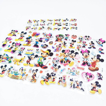 6pcs Mickey Mouse Cartoon Sticker Children's Birthday Gift Toy Cute 3D Stereo PVC Bubble Sticker Child Reward party favors DIY image