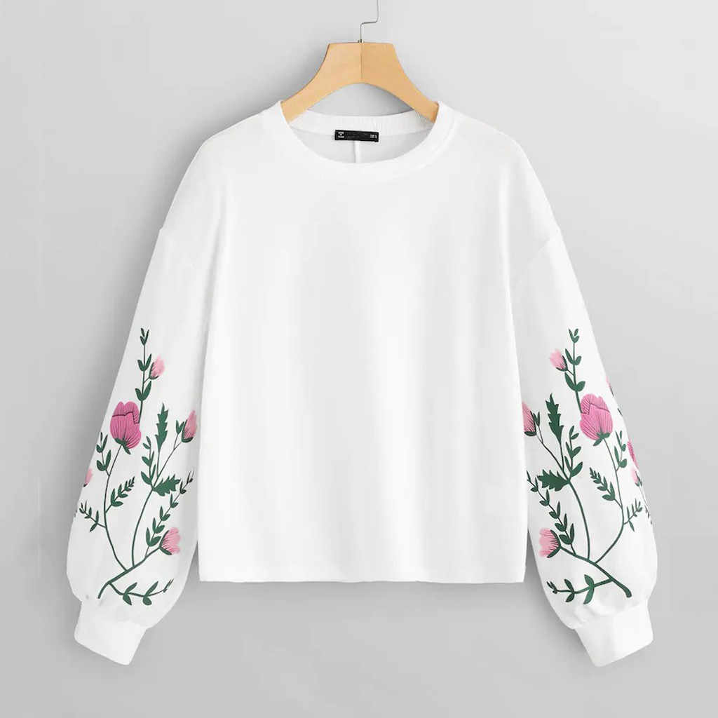 Feitong Sweatshirt  Women O-Neck Long Sleeve Botanical Floral Print Sleeve Pullovers Sweatshirt Top Sudaderas Para Mujer