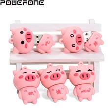 POWERONE USB 2 0 New cute Little pink pig usb flash drive pendrive 4GB 16GB 32GB 64GB memory Stick Pendrives thumb drive gifts cheap Plastic pen drive Creative Bullet Rectangle Gun model May-13 Lifetime China Stock