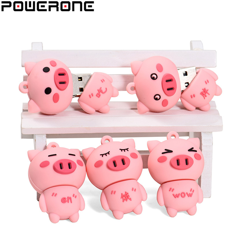 POWERONE USB 2.0 New Cute Little Pink Pig Usb Flash Drive Pendrive 4GB 16GB 32GB 64GB Memory Stick Pendrives Thumb Drive Gifts