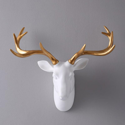 European Style Black and White Simulation Deer Head Sculpture Hanging Crafts Wall Mural Wall Decor Home Decoration Accessories