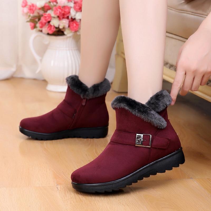 Зимние ботинки, женская обувь 2020, однотонные теплые плюшевые ботинки на плоской подошве, женская обувь, красные зимние ботильоны на молнии, повседневная женская обувь Зимние сапоги    АлиЭкспресс