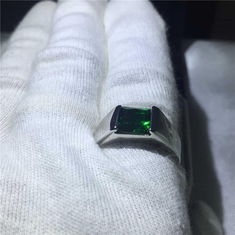 แฟชั่นสำหรับผู้ชายเจ้าหญิงตัด 3ct สีเขียว 5A zircon CZ 925 เงินชายครบรอบแหวน