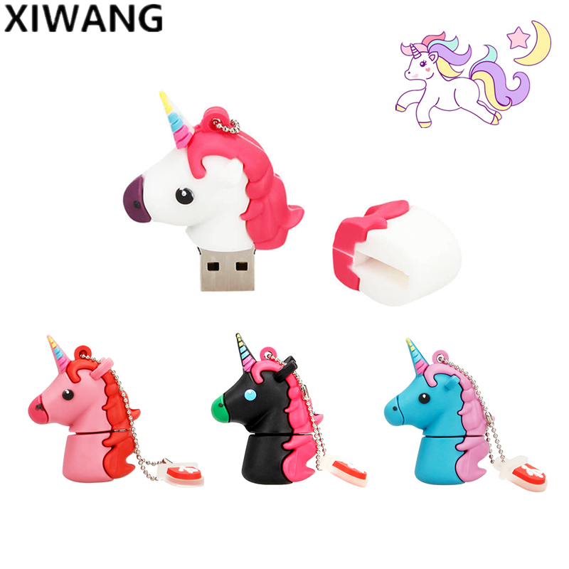 100% True Capacity Usb Flash Drive 64gb Unicorn Pen Drive 16gb Usb Disk 128gb 8gb 4gb Cute Animal Pendrive 32gb White Horse Gift