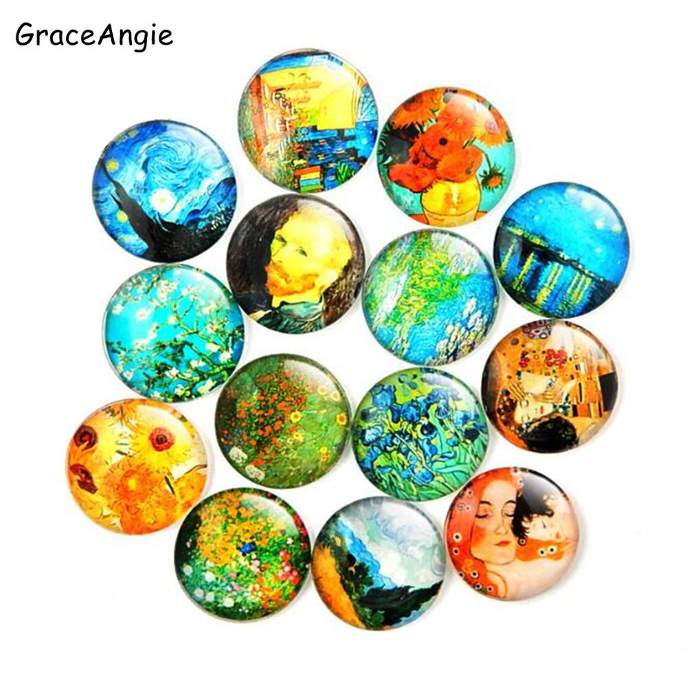 Mix DIY Glass Cabochon Pattern Van Gogh painting Sunflower Demo Flat Back Jewelry Finding 8mm 10mm 12mm 15mm 18mm 20mm 25mm 30mm