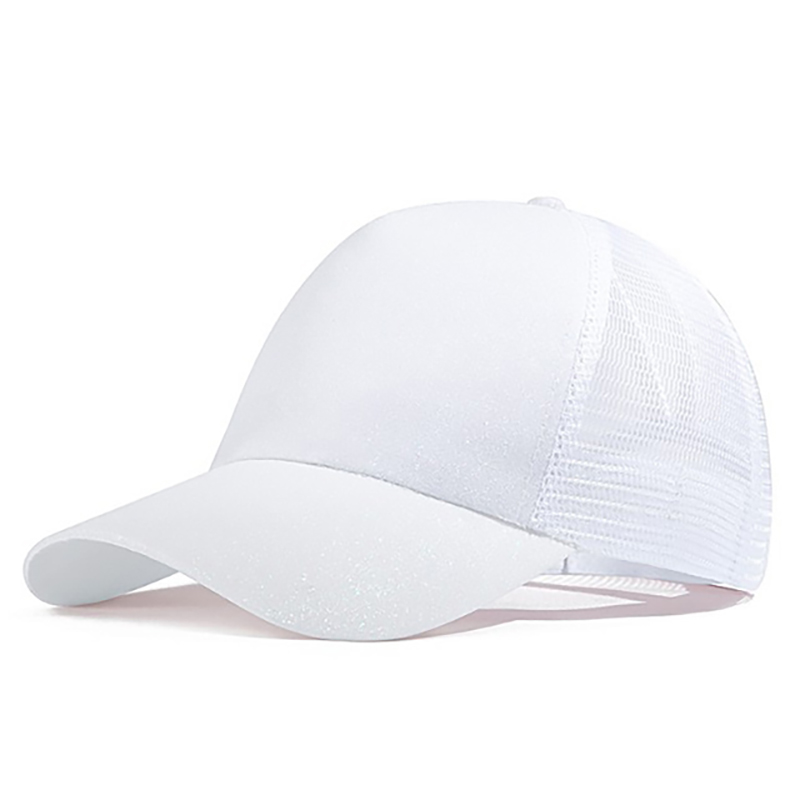 A White Summer Lady Ponytail Baseball Cap A Sequined Cap For The Finale Of An Outdoor Sports Hip-Hop Show