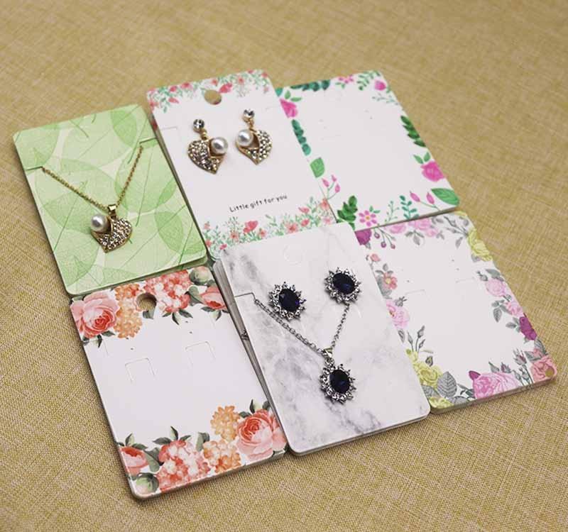 12 шт. комплект ювелирных изделий Упаковка карта + 12oppbag 6*9 см цветок/marbling ожерелье серьги набор кулон пакет карты