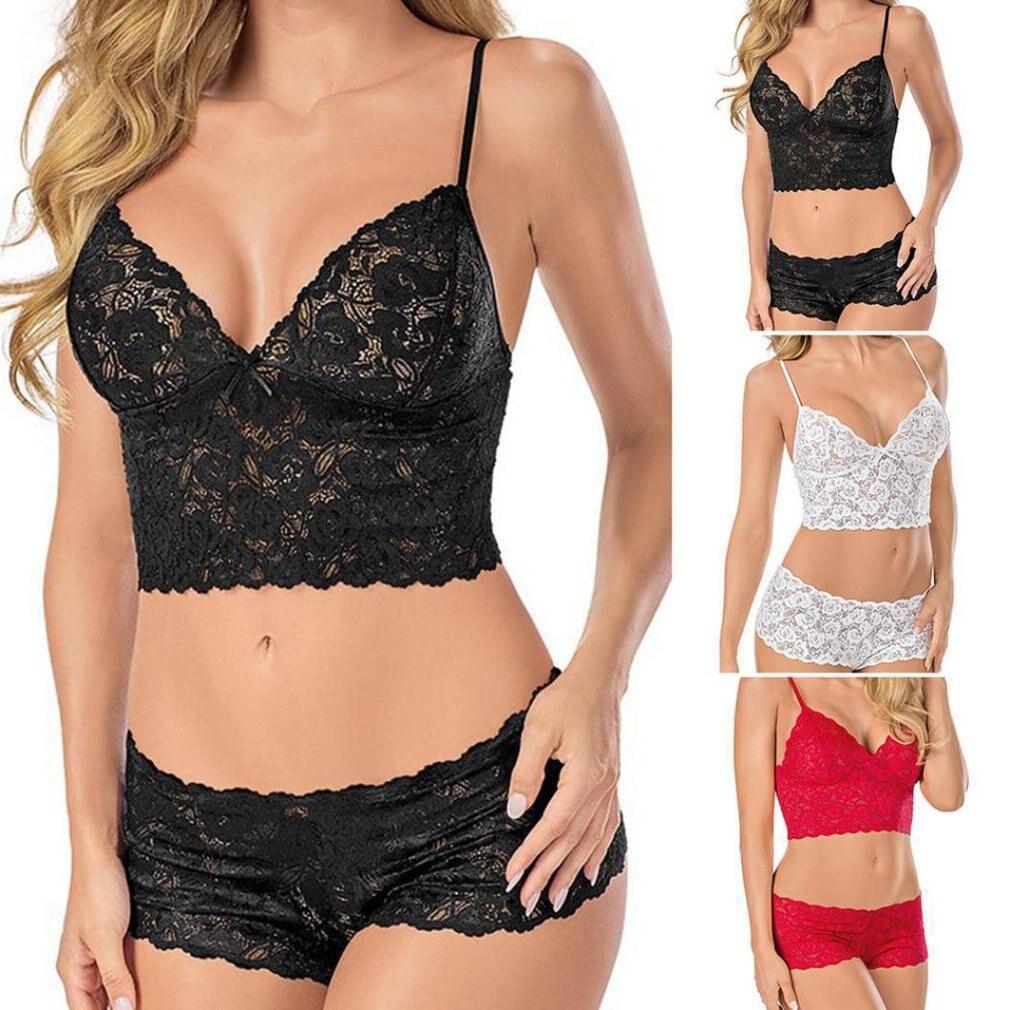 Hot Sexy Lingerie Women Plus Size Sexy Lingerie Set Lace Bra Hollow Out Lace See-through Underwear Lingerie Bra Set Sex Hot Sale