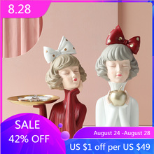 Nordic style resin crafts statue decoration modern girl bow girl home decoration living room decoration kid
