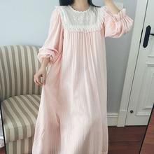 Ladies Nightgown Nightdress Vintage Sleepwear Dress  Long Sleeves Homewear Sweet Woman Princess Nightgowns Autumn  lingere sexy цена 2017