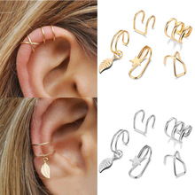 2021 fashion 7pc set Gold Star Leaves Non-Piercing Ear Clip Earrings For Women Men Simple Fake Cartilage Ear Cuff Jewelry Clip