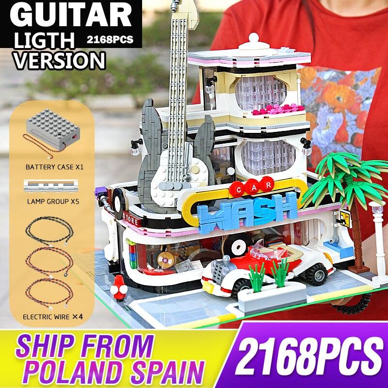 Mould King – blocs de construction modulaires, créateur Expert 16002, magasin de disques de guitare, Street View, jouets éducatifs pour enfants