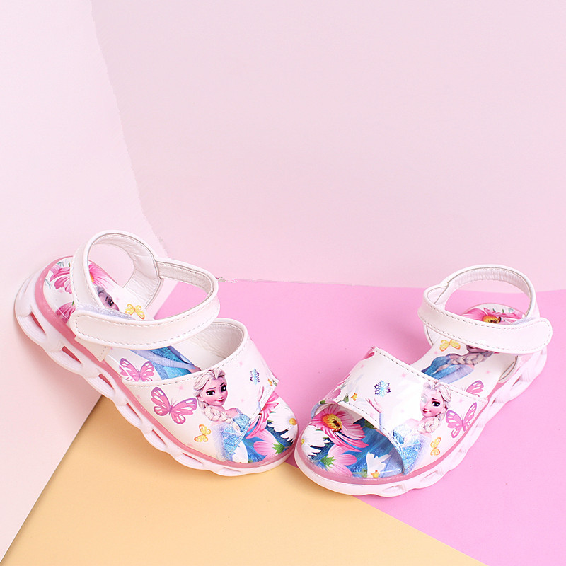 Kid Shoes Children Princess Sandals Girls Candy Color Cartoon Sandals Breathable And Lightweight Untislippery  Hook-loop Shoes