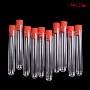 10Pcs 12*100mm High Quality Transparent Plastic Laboratory Test Tubes With Lids Vial Sample Containers