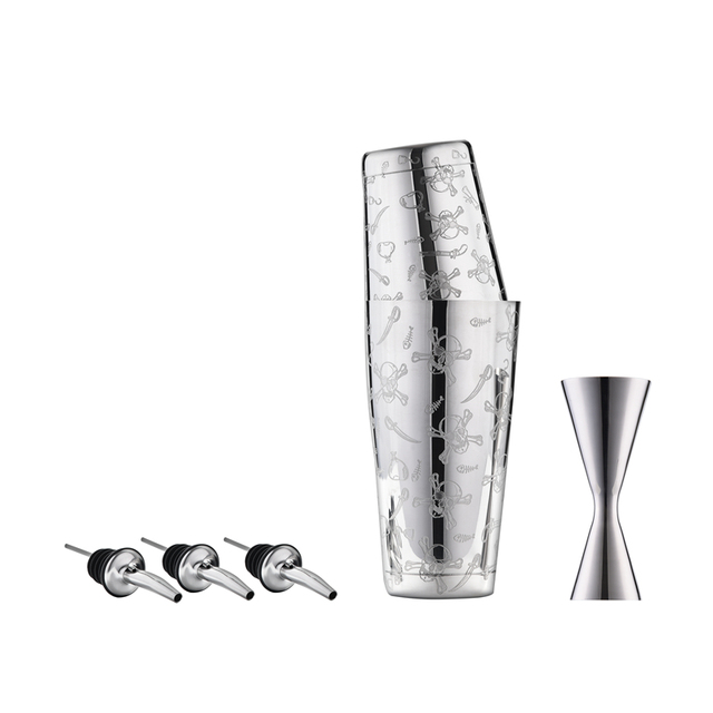 Premium 5 Pieces Boston Shaker Set: 18/8 stainless steel Boston Shaker, 25/50ML Double End Jigger, 2 Pourers, High grade barware