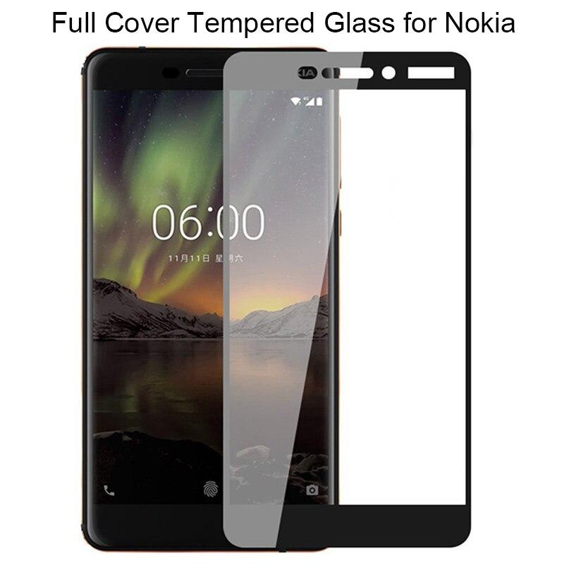 9d preto capa completa protetor de tela para nokia 1 2 3 5 6 2018 vidro temperado para nokia 2.1 3.1 5.1 6.1 vidro para nokia 7 plus
