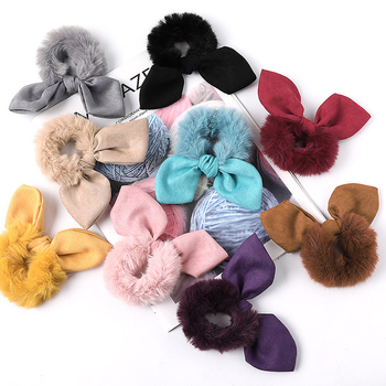 1pc Rabbit Ears Hair Scrunchie Bunny Bow Tie Elastic Girls/Women Faux Fur Ponytail Holder Accessories