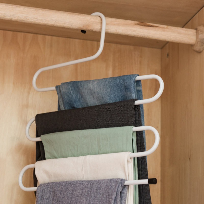 5 Layers MultiFunctional Clothes Hangers Pant Storage Cloth Rack Trousers Hanging Shelf Non-slip Clothing Organizer Storage Rack