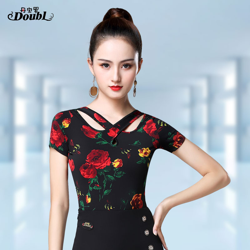 DOUBL Sexy Female UpperClothing Adults Latin Dance Top Modern Short Sleeve Exercise Waltz Standard Dance Practise Tops For Women